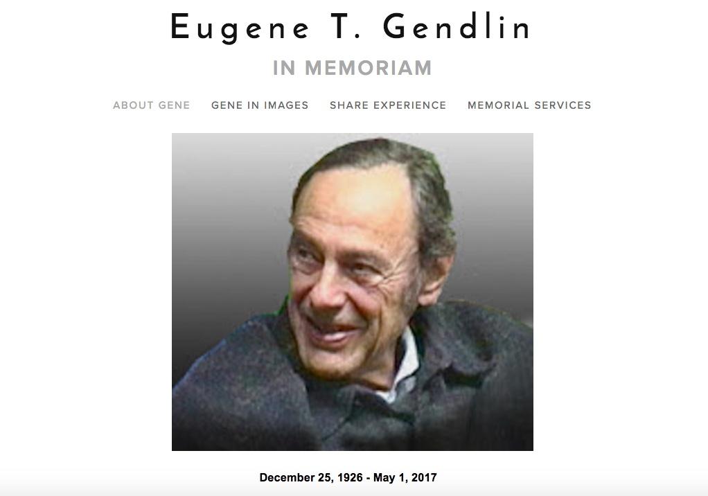Eugene T. Gendlin Εις μνήμην